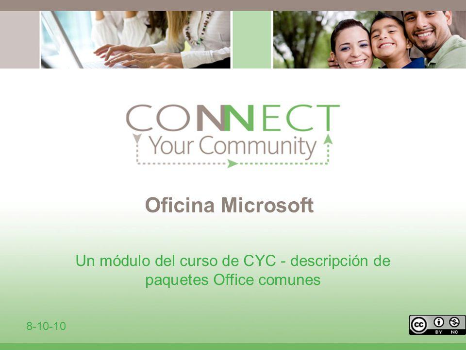 Oficina Microsoft Un módulo del curso de CYC - descripción de paquetes Office comunes 8-10-10