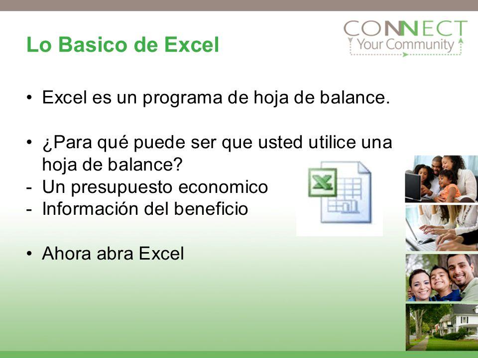 Lo Basico de Excel Excel es un programa de hoja de balance. ¿Para qué puede ser que usted utilice una hoja de balance? -Un presupuesto economico -Info