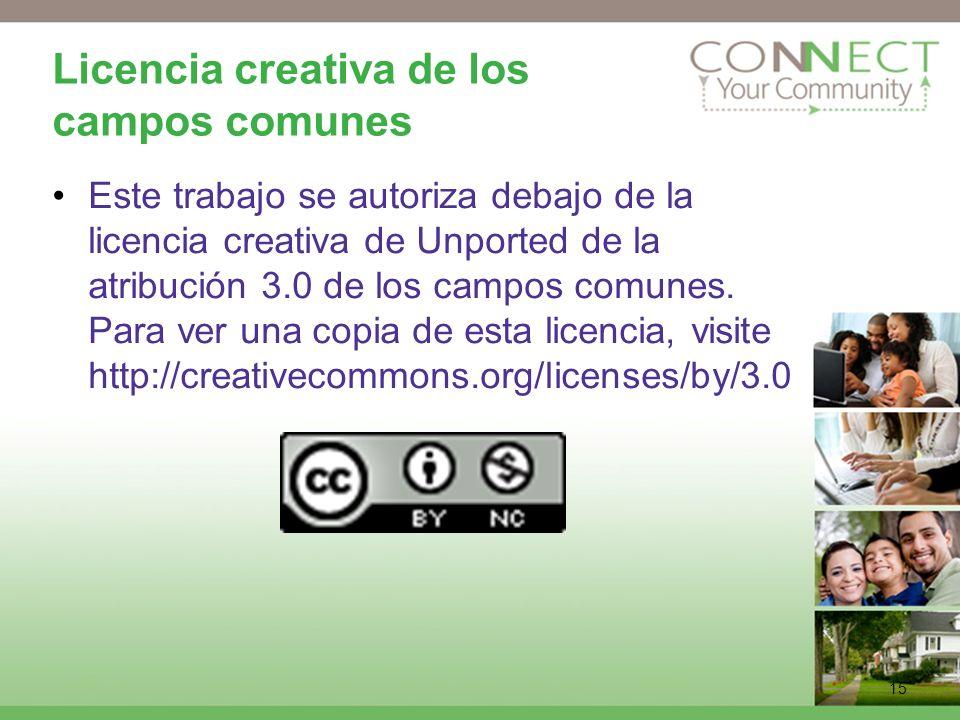15 Licencia creativa de los campos comunes Este trabajo se autoriza debajo de la licencia creativa de Unported de la atribución 3.0 de los campos comu