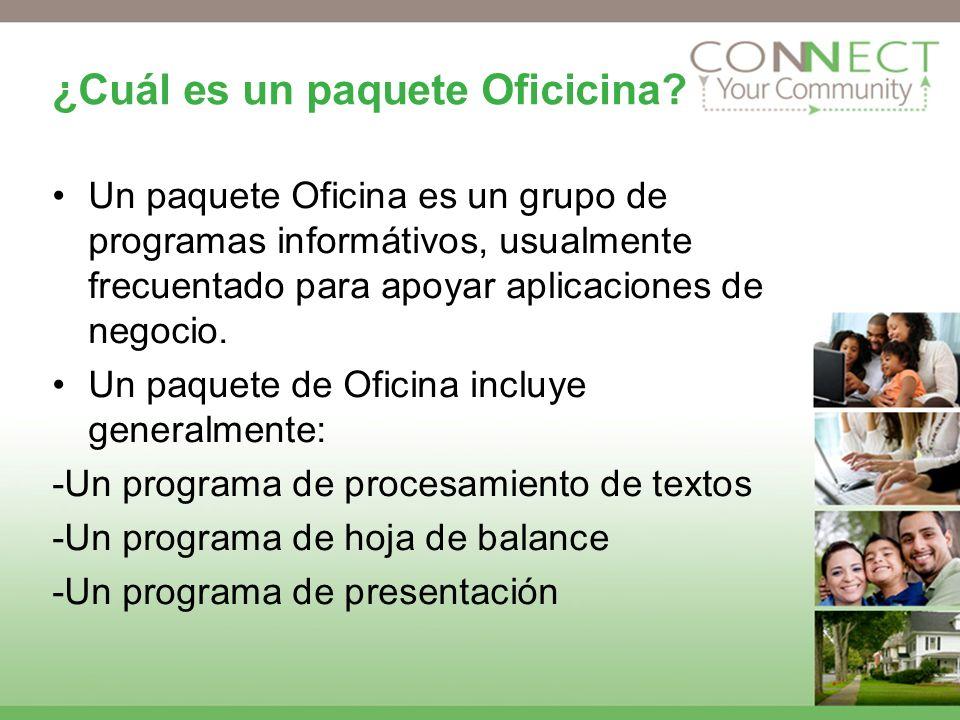 ¿Cuál es un paquete Oficicina? Un paquete Oficina es un grupo de programas informátivos, usualmente frecuentado para apoyar aplicaciones de negocio. U