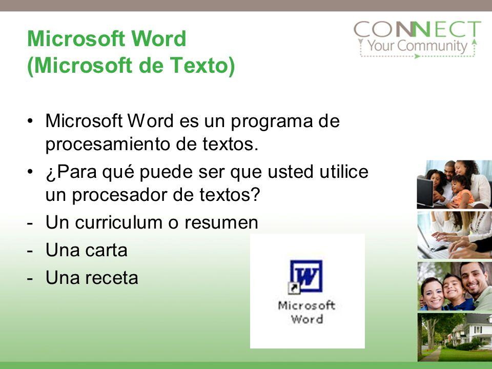Microsoft Word (Microsoft de Texto) Microsoft Word es un programa de procesamiento de textos. ¿Para qué puede ser que usted utilice un procesador de t