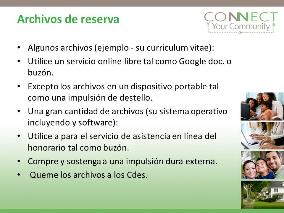 Archivos de reserva Algunos archivos (ejemplo - su curriculum vitae): Utilice un servicio online libre tal como Google doc.