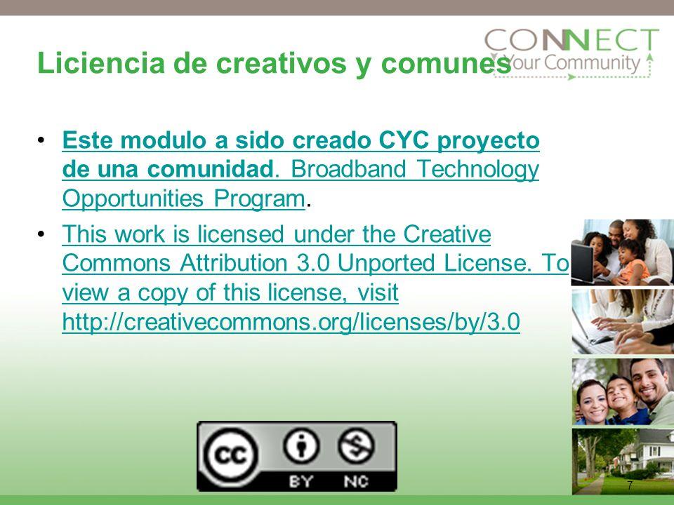 7 Liciencia de creativos y comunes Este modulo a sido creado CYC proyecto de una comunidad.