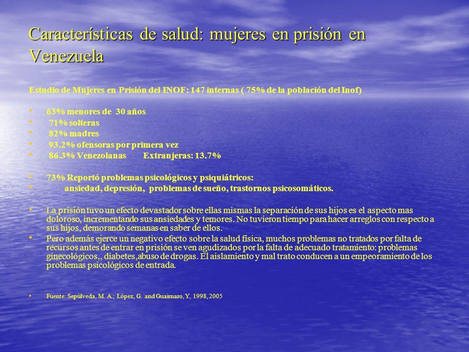 Características de salud: mujeres en prisión en Venezuela Estudio de Mujeres en Prisión del INOF: 147 internas ( 75% de la población del Inof) 63% men
