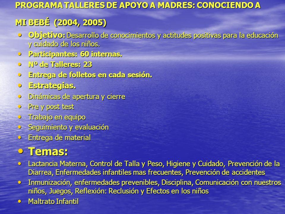 PROGRAMA TALLERES DE APOYO A MADRES: CONOCIENDO A MI BEBÉ (2004, 2005) Objetivo : Desarrollo de conocimientos y actitudes positivas para la educación