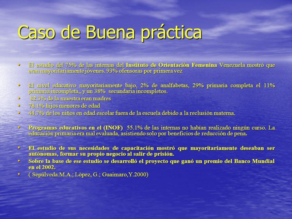 Caso de Buena práctica El estudio del 75% de las internas del Instituto de Orientación Femenina Venezuela mostró que eran mayoritariamente jóvenes. 93