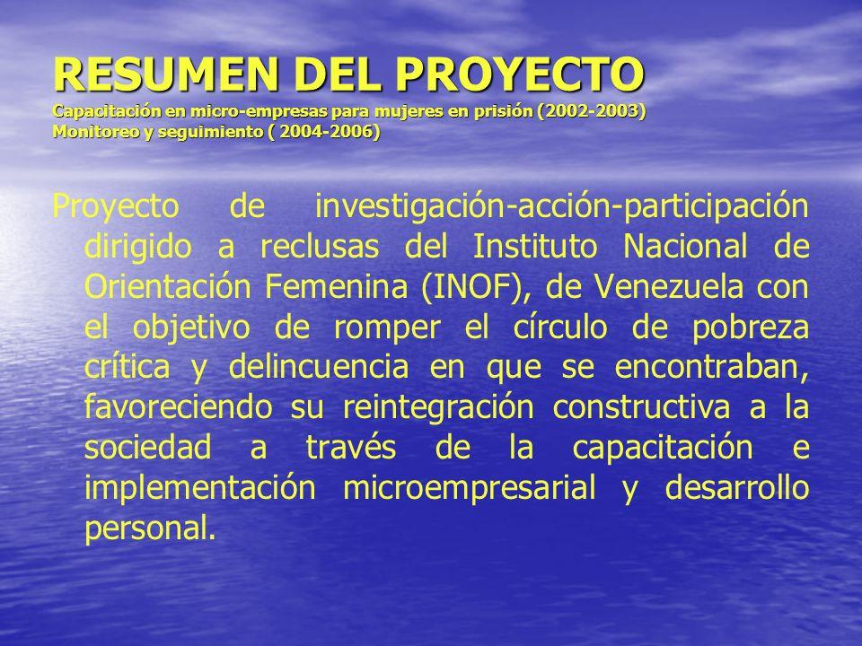 RESUMEN DEL PROYECTO Capacitación en micro-empresas para mujeres en prisión (2002-2003) Monitoreo y seguimiento ( 2004-2006) Proyecto de investigación
