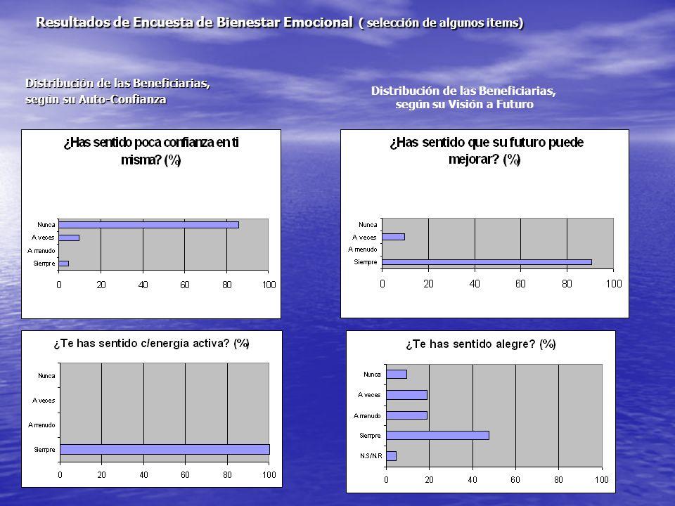 Resultados de Encuesta de Bienestar Emocional ( selección de algunos items) Distribución de las Beneficiarias, según su Auto-Confianza Distribución de