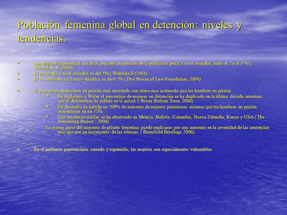 Tabla Nº 1 Mujeres en Prisión en Latino-América Fuente: World Prison Brief: International( 2009) Centeer for Prison Studies, King´s College London Países % de Mujeres privadas de libertad Argentina ( 2006) 5.5% 5.5% Bolivia (2006) 14.2 % Brasil ( 2008) 6.4 % Chile (2008) 7.8% (3.925 privadas de libertad) Colombia (2008) 6% Ecuador (2008) 9.8% Perú (2007) 6.9% Uruguay ( 2006) 5.6% Venezuela ( 2004) 5.8%