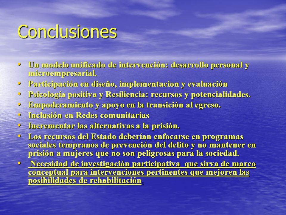 Conclusiones Un modelo unificado de intervención: desarrollo personal y microempresarial. Un modelo unificado de intervención: desarrollo personal y m