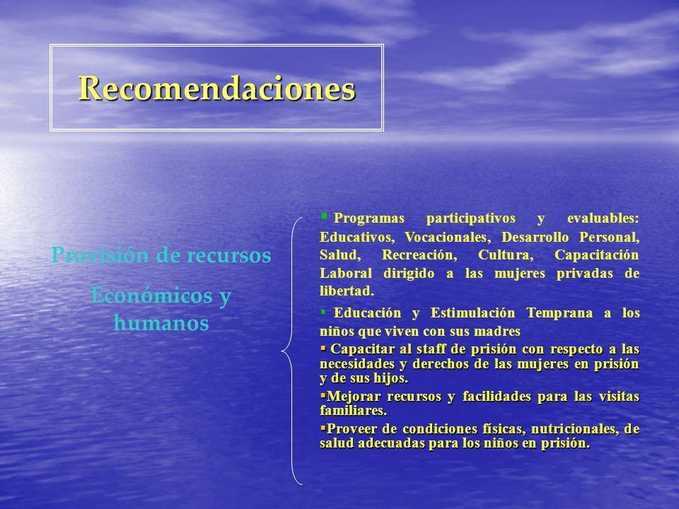 Recomendaciones Programas participativos y evaluables: Educativos, Vocacionales, Desarrollo Personal, Salud, Recreación, Cultura, Capacitación Laboral