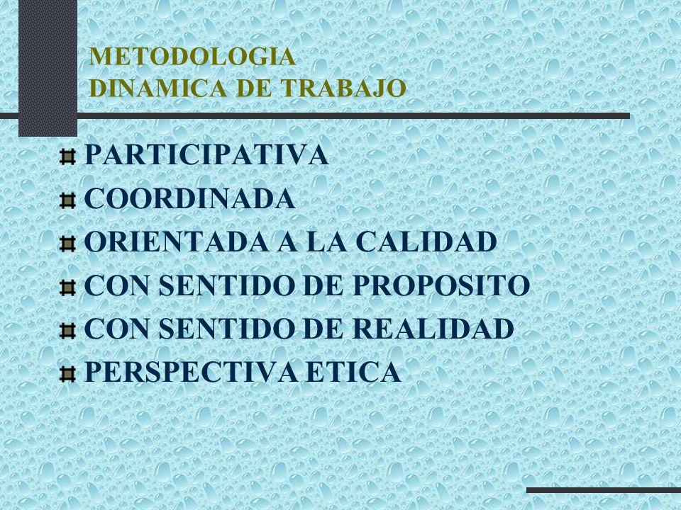 METODOLOGIA DINAMICA DE TRABAJO PARTICIPATIVA COORDINADA ORIENTADA A LA CALIDAD CON SENTIDO DE PROPOSITO CON SENTIDO DE REALIDAD PERSPECTIVA ETICA