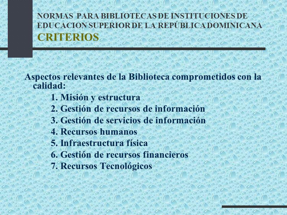 NORMAS PARA BIBLIOTECAS DE INSTITUCIONES DE EDUCACION SUPERIOR DE LA REPÚBLICA DOMINICANA CRITERIOS Aspectos relevantes de la Biblioteca comprometidos