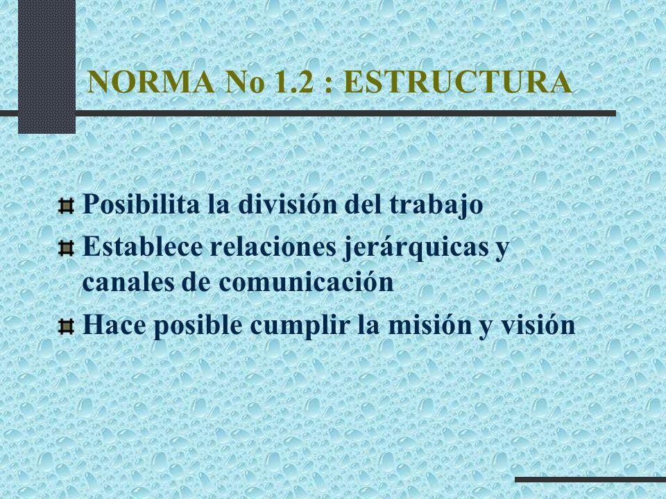 NORMA No 1.2 : ESTRUCTURA Posibilita la división del trabajo Establece relaciones jerárquicas y canales de comunicación Hace posible cumplir la misión