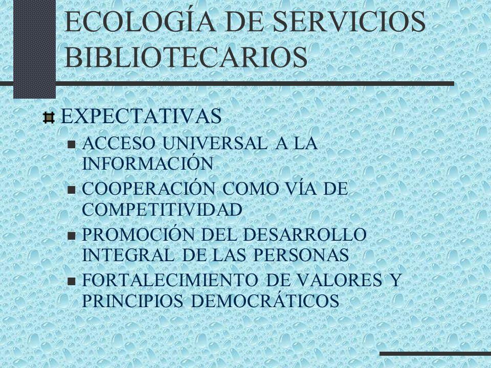 ECOLOGÍA DE SERVICIOS BIBLIOTECARIOS EXPECTATIVAS ACCESO UNIVERSAL A LA INFORMACIÓN COOPERACIÓN COMO VÍA DE COMPETITIVIDAD PROMOCIÓN DEL DESARROLLO IN