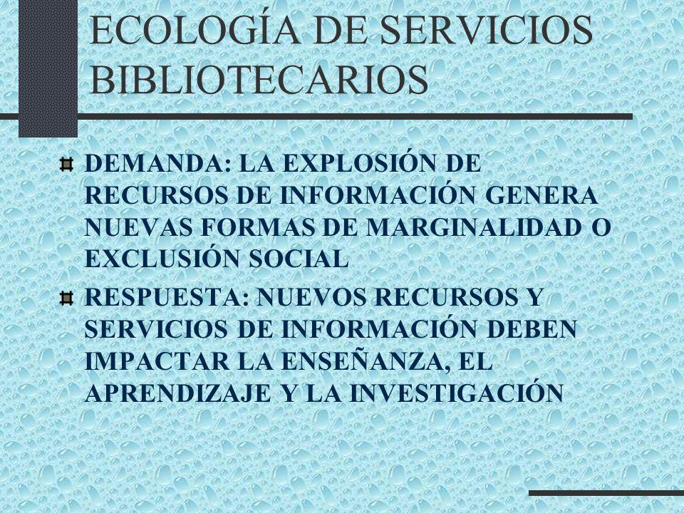 ECOLOGÍA DE SERVICIOS BIBLIOTECARIOS DEMANDA: LA EXPLOSIÓN DE RECURSOS DE INFORMACIÓN GENERA NUEVAS FORMAS DE MARGINALIDAD O EXCLUSIÓN SOCIAL RESPUEST