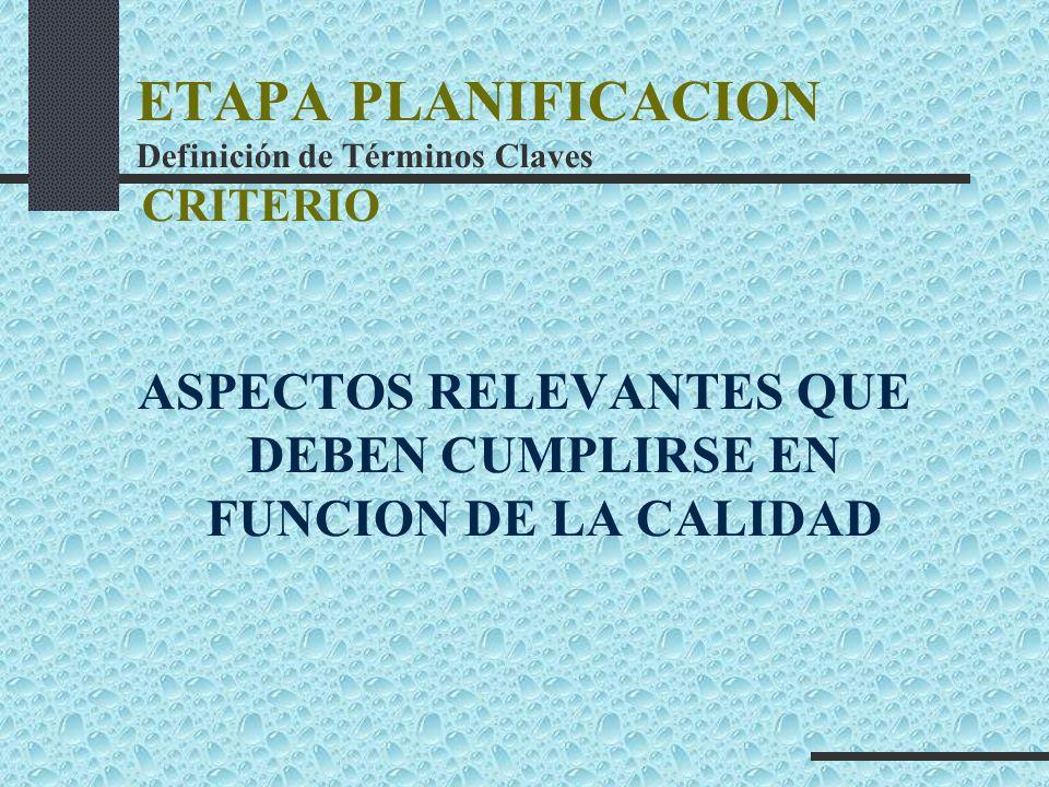 ETAPA PLANIFICACION Definición de Términos Claves CRITERIO ASPECTOS RELEVANTES QUE DEBEN CUMPLIRSE EN FUNCION DE LA CALIDAD