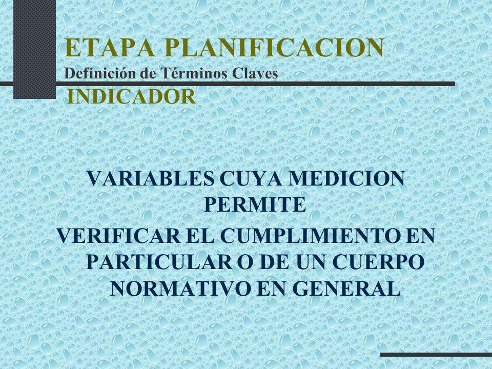 ETAPA PLANIFICACION Definición de Términos Claves INDICADOR VARIABLES CUYA MEDICION PERMITE VERIFICAR EL CUMPLIMIENTO EN PARTICULAR O DE UN CUERPO NOR