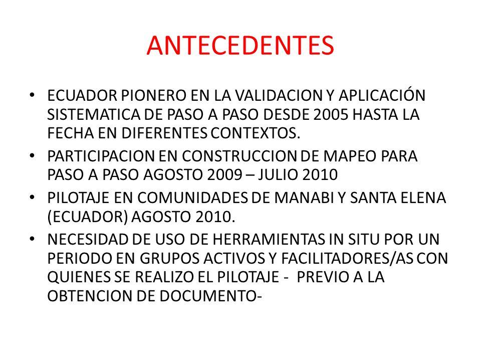 ANTECEDENTES ECUADOR PIONERO EN LA VALIDACION Y APLICACIÓN SISTEMATICA DE PASO A PASO DESDE 2005 HASTA LA FECHA EN DIFERENTES CONTEXTOS. PARTICIPACION