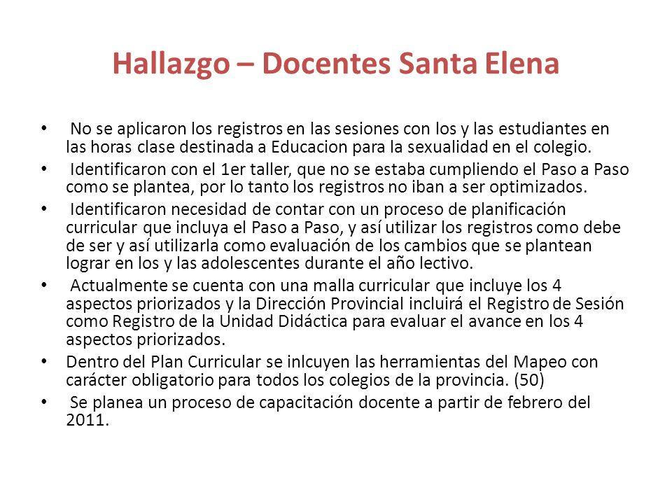 Hallazgo – Docentes Santa Elena No se aplicaron los registros en las sesiones con los y las estudiantes en las horas clase destinada a Educacion para
