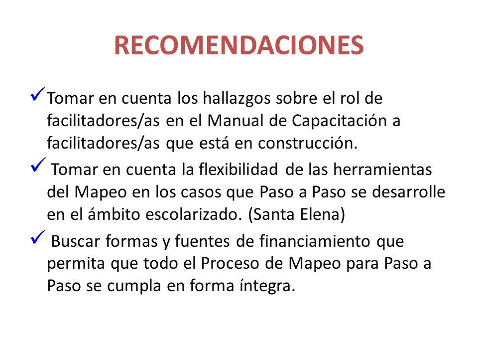 RECOMENDACIONES Tomar en cuenta los hallazgos sobre el rol de facilitadores/as en el Manual de Capacitación a facilitadores/as que está en construcció