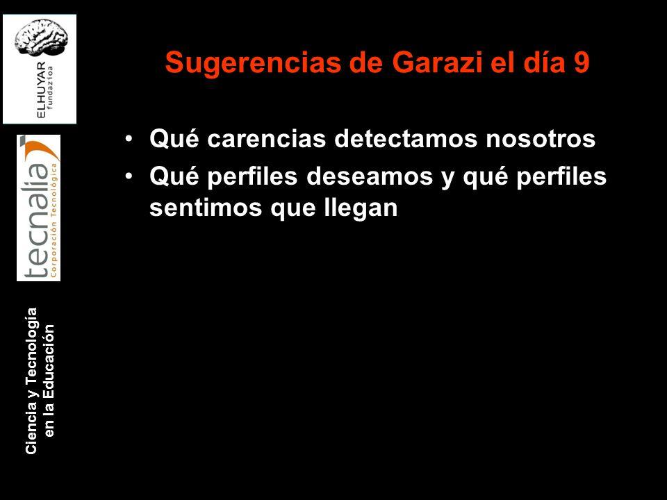Ciencia y Tecnología en la Educación Sugerencias de Garazi el día 9 Qué carencias detectamos nosotros Qué perfiles deseamos y qué perfiles sentimos qu