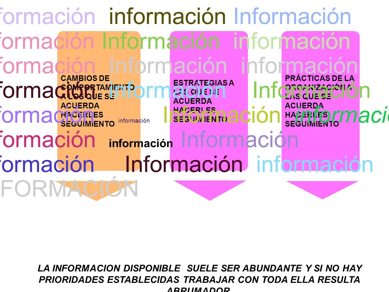 CAMBIOS DE COMPORTAMIENTO A LOS QUE SE ACUERDA HACERLES SEGUIMIENTO PRÁCTICAS DE LA ORGANIZACIÓN A LAS QUE SE ACUERDA HACERLES SEGUIMIENTO ESTRATEGIAS A LAS QUE SE ACUERDA HACERLES SEGUIMIENTO Información información Información información Información información Información Información información Información información Información información.