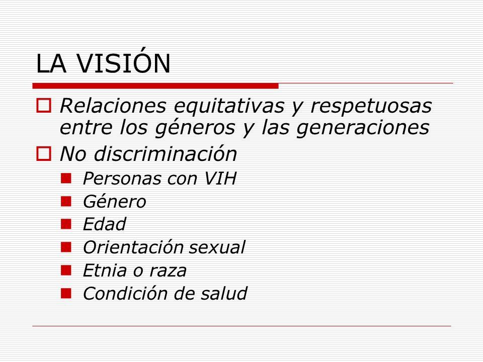 LA VISIÓN Relaciones equitativas y respetuosas entre los géneros y las generaciones No discriminación Personas con VIH Género Edad Orientación sexual