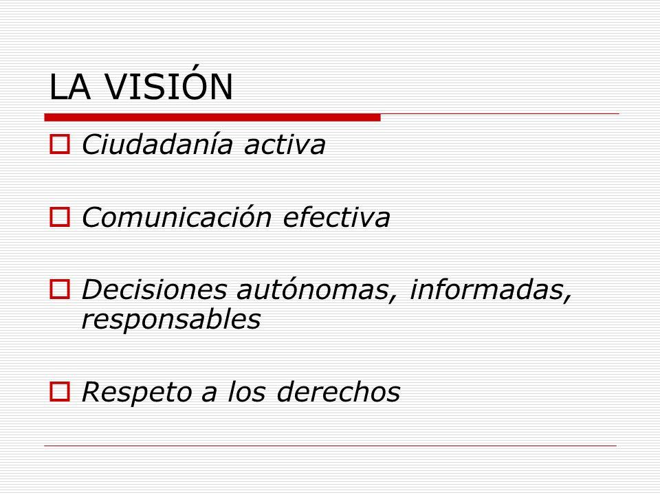 LA VISIÓN Ciudadanía activa Comunicación efectiva Decisiones autónomas, informadas, responsables Respeto a los derechos