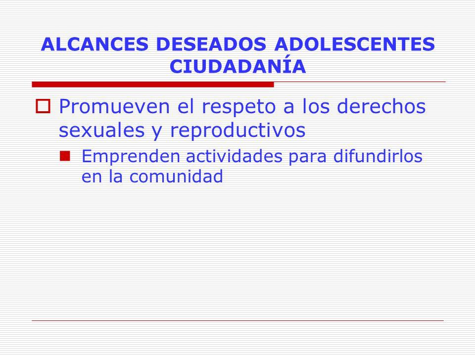 ALCANCES DESEADOS ADOLESCENTES CIUDADANÍA Promueven el respeto a los derechos sexuales y reproductivos Emprenden actividades para difundirlos en la co