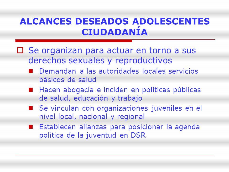 ALCANCES DESEADOS ADOLESCENTES CIUDADANÍA Se organizan para actuar en torno a sus derechos sexuales y reproductivos Demandan a las autoridades locales