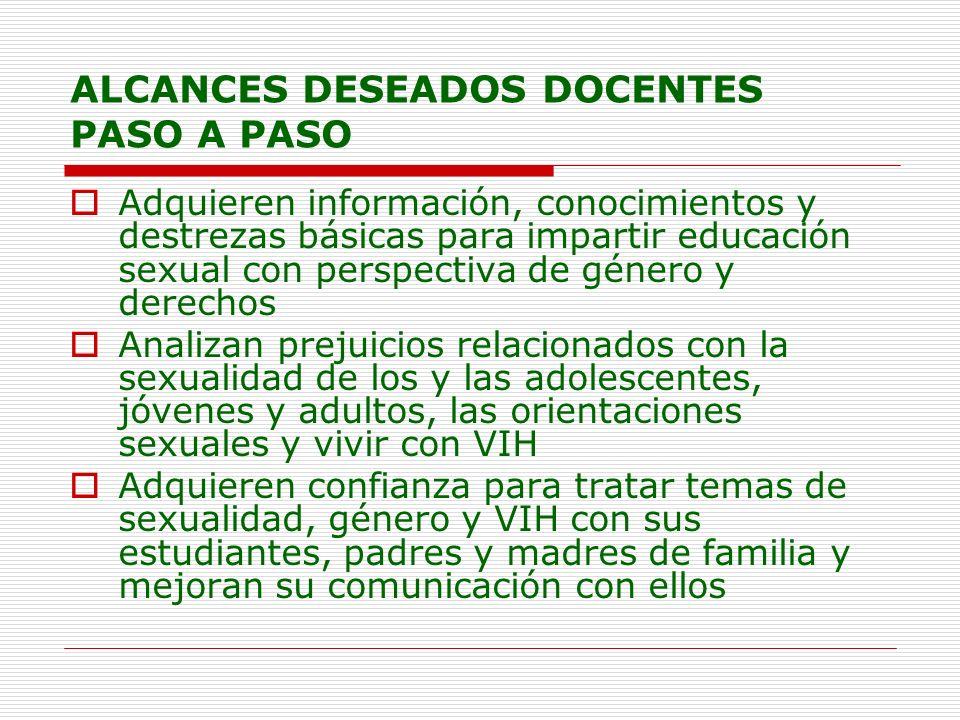 ALCANCES DESEADOS DOCENTES PASO A PASO Adquieren información, conocimientos y destrezas básicas para impartir educación sexual con perspectiva de géne
