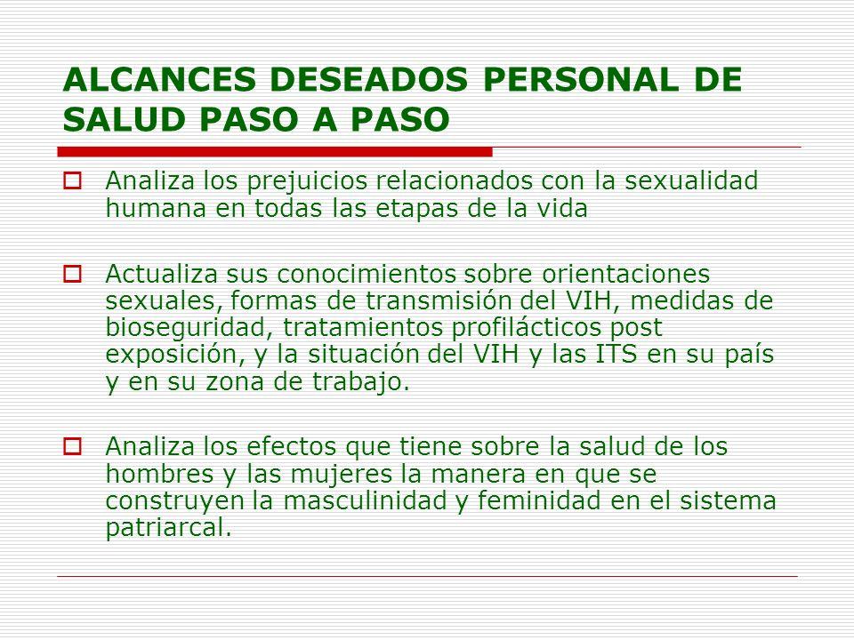 ALCANCES DESEADOS PERSONAL DE SALUD PASO A PASO Analiza los prejuicios relacionados con la sexualidad humana en todas las etapas de la vida Actualiza