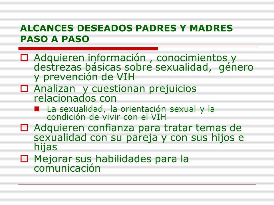 ALCANCES DESEADOS PADRES Y MADRES PASO A PASO Adquieren información, conocimientos y destrezas básicas sobre sexualidad, género y prevención de VIH An
