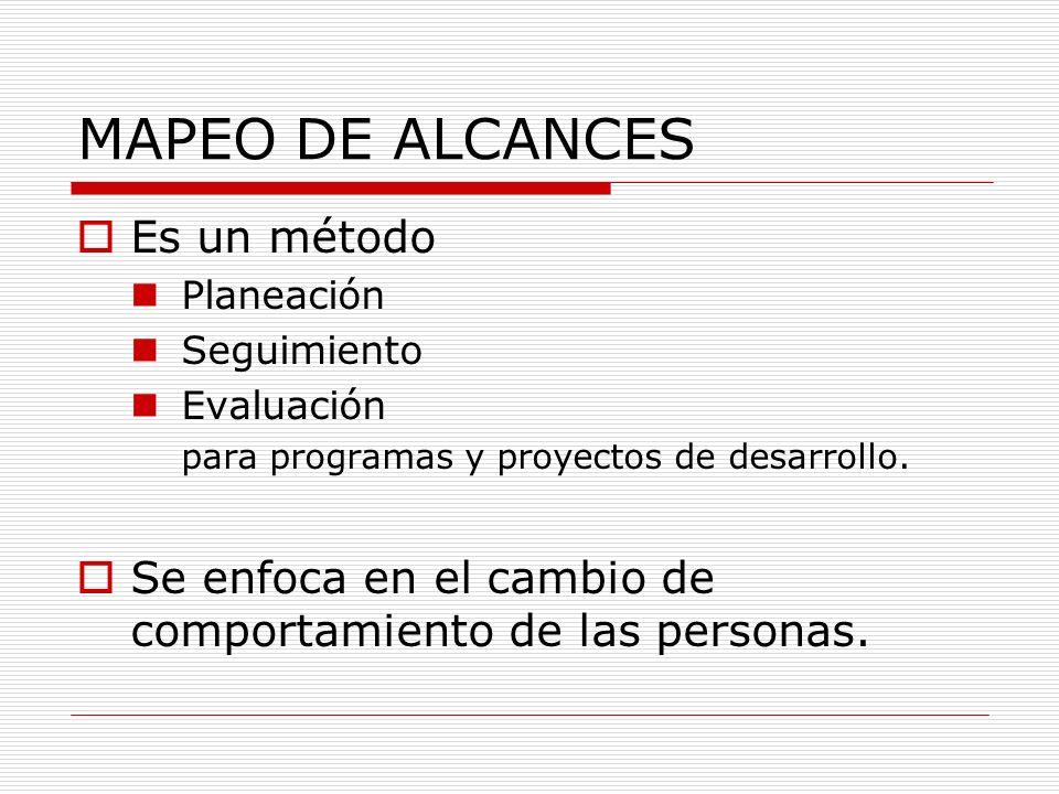 MAPEO DE ALCANCES Es un método Planeación Seguimiento Evaluación para programas y proyectos de desarrollo. Se enfoca en el cambio de comportamiento de