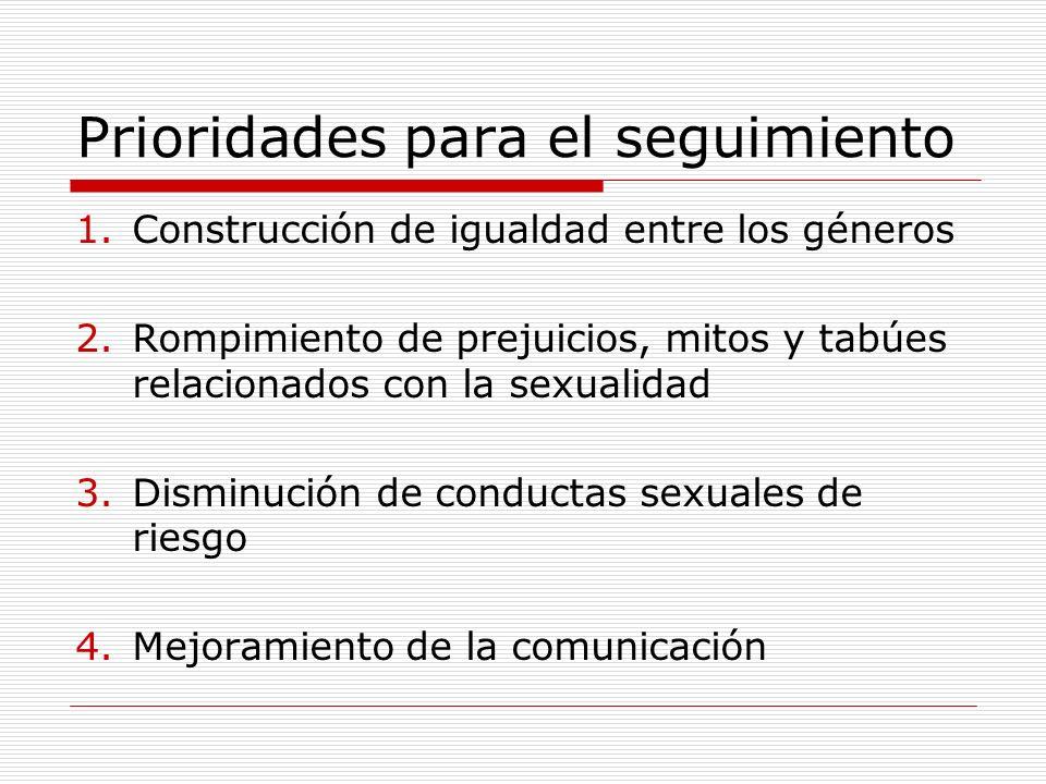 Prioridades para el seguimiento 1.Construcción de igualdad entre los géneros 2.Rompimiento de prejuicios, mitos y tabúes relacionados con la sexualida