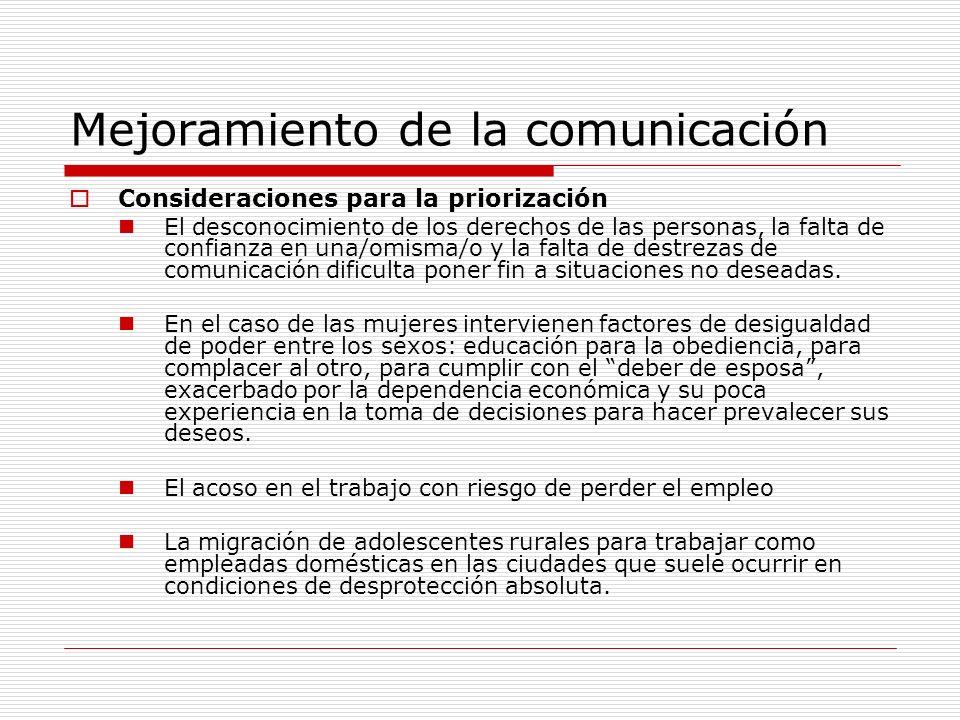 Mejoramiento de la comunicación Consideraciones para la priorización El desconocimiento de los derechos de las personas, la falta de confianza en una/