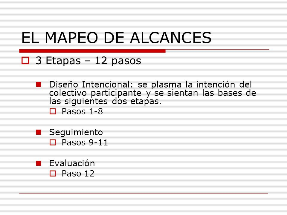 EL MAPEO DE ALCANCES 3 Etapas – 12 pasos Diseño Intencional: se plasma la intención del colectivo participante y se sientan las bases de las siguiente