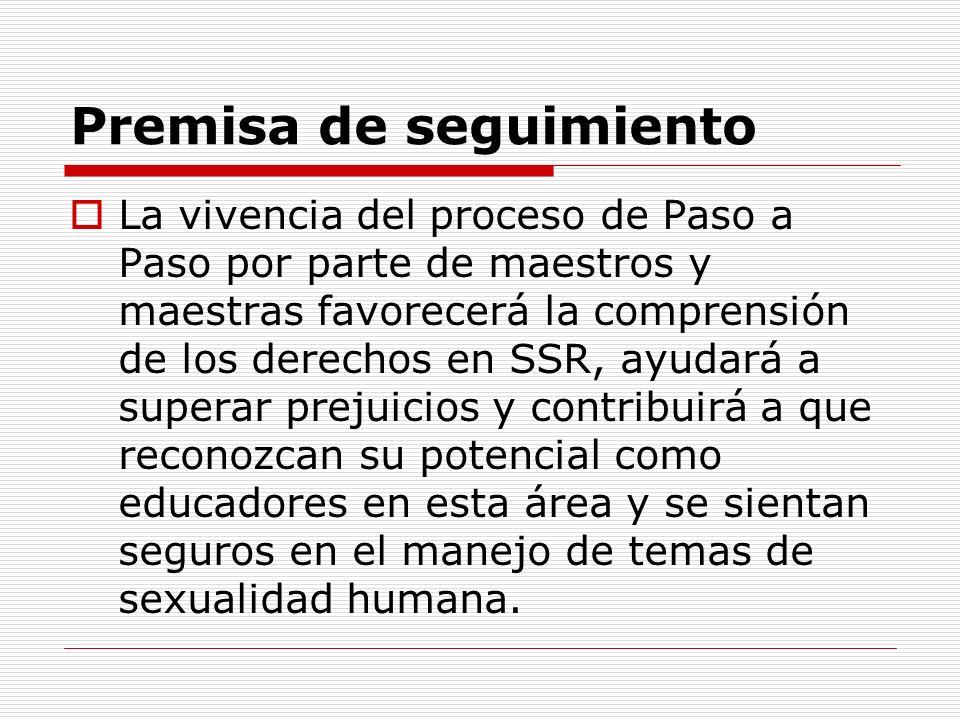 Premisa de seguimiento La vivencia del proceso de Paso a Paso por parte de maestros y maestras favorecerá la comprensión de los derechos en SSR, ayuda