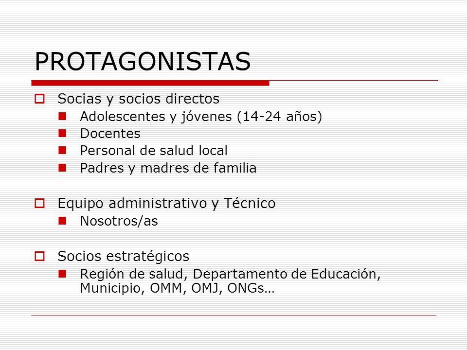 PROTAGONISTAS Socias y socios directos Adolescentes y jóvenes (14-24 años) Docentes Personal de salud local Padres y madres de familia Equipo administ