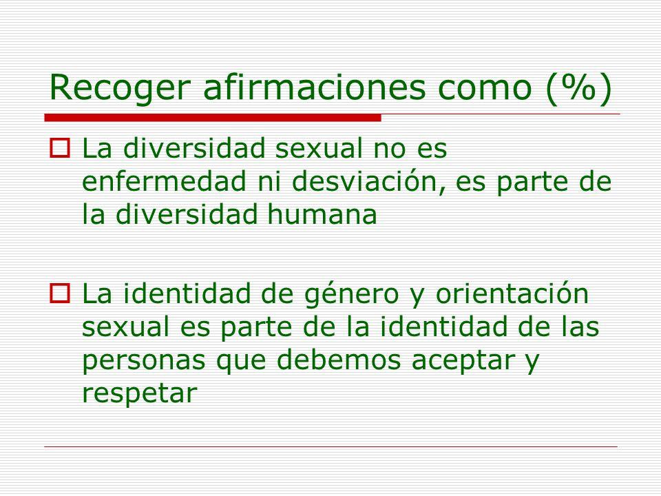 Recoger afirmaciones como (%) La diversidad sexual no es enfermedad ni desviación, es parte de la diversidad humana La identidad de género y orientaci