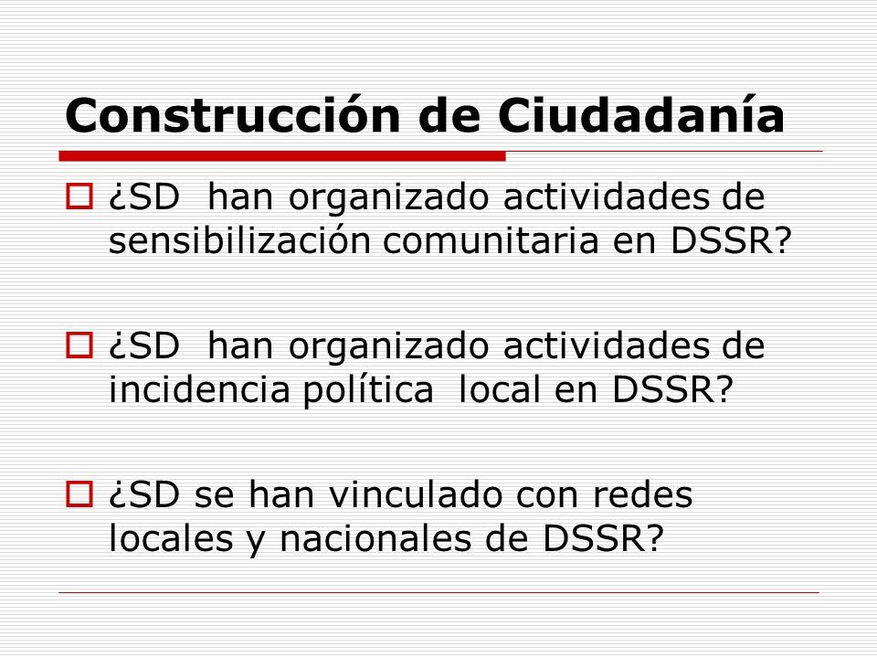 Construcción de Ciudadanía ¿SD han organizado actividades de sensibilización comunitaria en DSSR? ¿SD han organizado actividades de incidencia polític