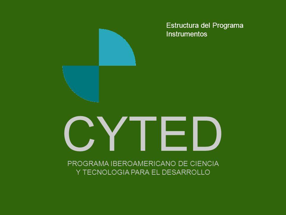-- - - - - - - -Portada PROGRAMA IBEROAMERICANO DE CIENCIA Y TECNOLOGIA PARA EL DESARROLLO CYTED Estructura del Programa Instrumentos
