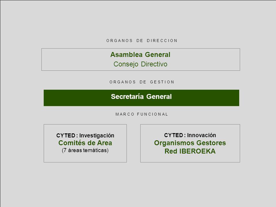 Asamblea General Consejo Directivo CYTED : Investigación Comités de Area (7 áreas temáticas) CYTED : Innovación Organismos Gestores Red IBEROEKA Secre