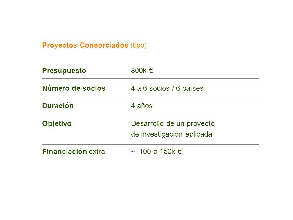Proyectos Consorciados (tipo) Presupuesto800k Número de socios4 a 6 socios / 6 países Duración4 años ObjetivoDesarrollo de un proyecto de investigació