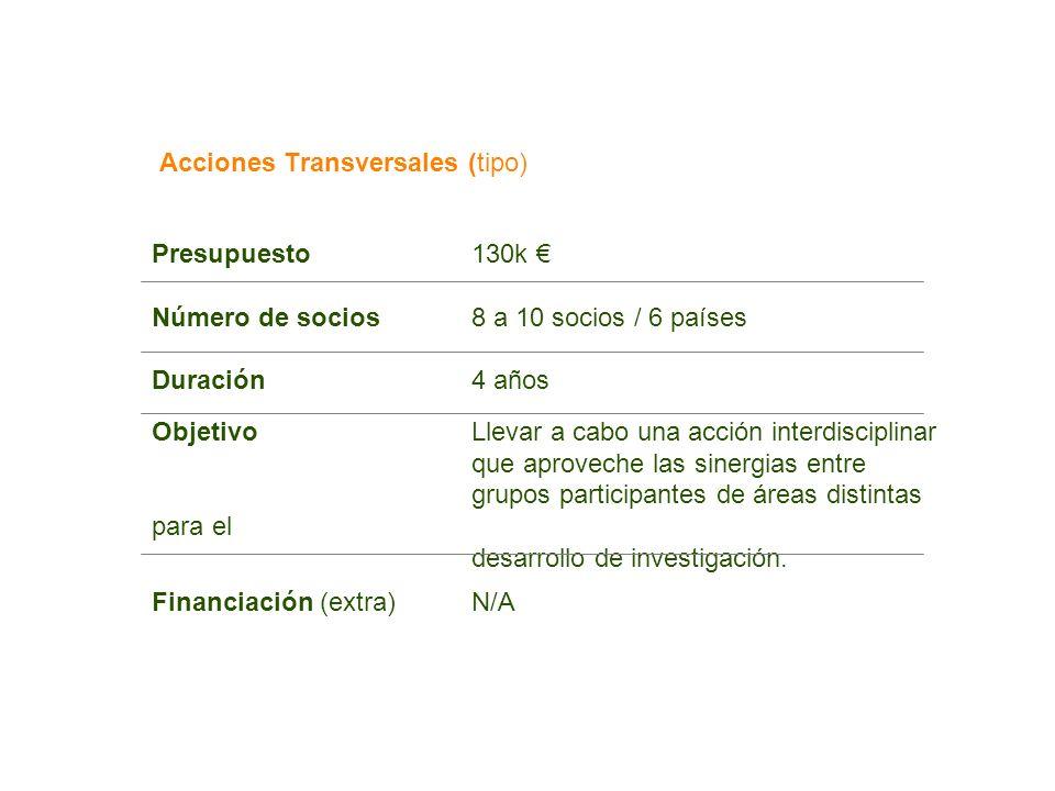 Acciones Transversales (tipo) Presupuesto130k Número de socios8 a 10 socios / 6 países Duración4 años ObjetivoLlevar a cabo una acción interdisciplina