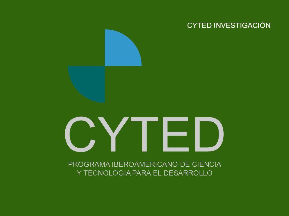 -- - - - - - - -Portada PROGRAMA IBEROAMERICANO DE CIENCIA Y TECNOLOGIA PARA EL DESARROLLO CYTED CYTED INVESTIGACIÓN