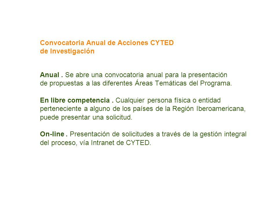 Convocatoria Anual de Acciones CYTED de Investigación Anual. Se abre una convocatoria anual para la presentación de propuestas a las diferentes Áreas
