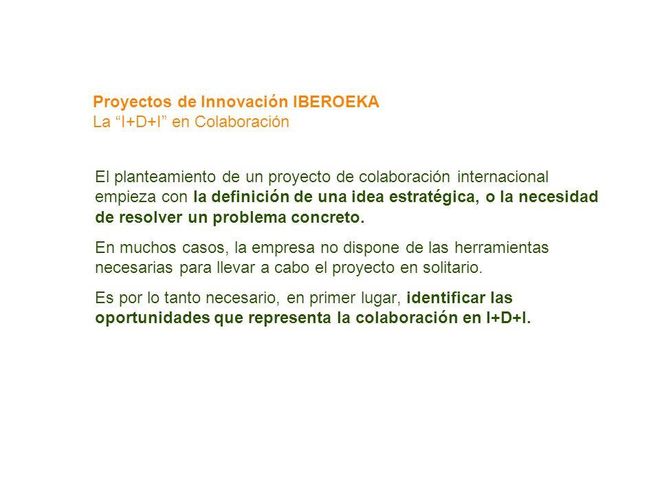 Proyectos de Innovación IBEROEKA La I+D+I en Colaboración El planteamiento de un proyecto de colaboración internacional empieza con la definición de u