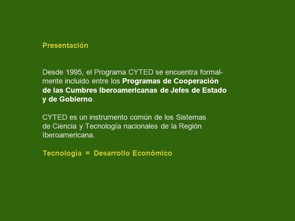 Presentación Desde 1995, el Programa CYTED se encuentra formal- mente incluido entre los Programas de Cooperación de las Cumbres Iberoamericanas de Je